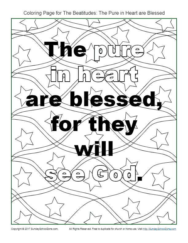 Pure In Heart Beatitudes Coloring Page On Sunday School Zone
