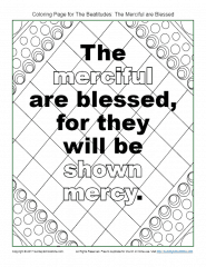 """The """"Merciful"""" Beatitudes Coloring Page on Sunday School Zone"""