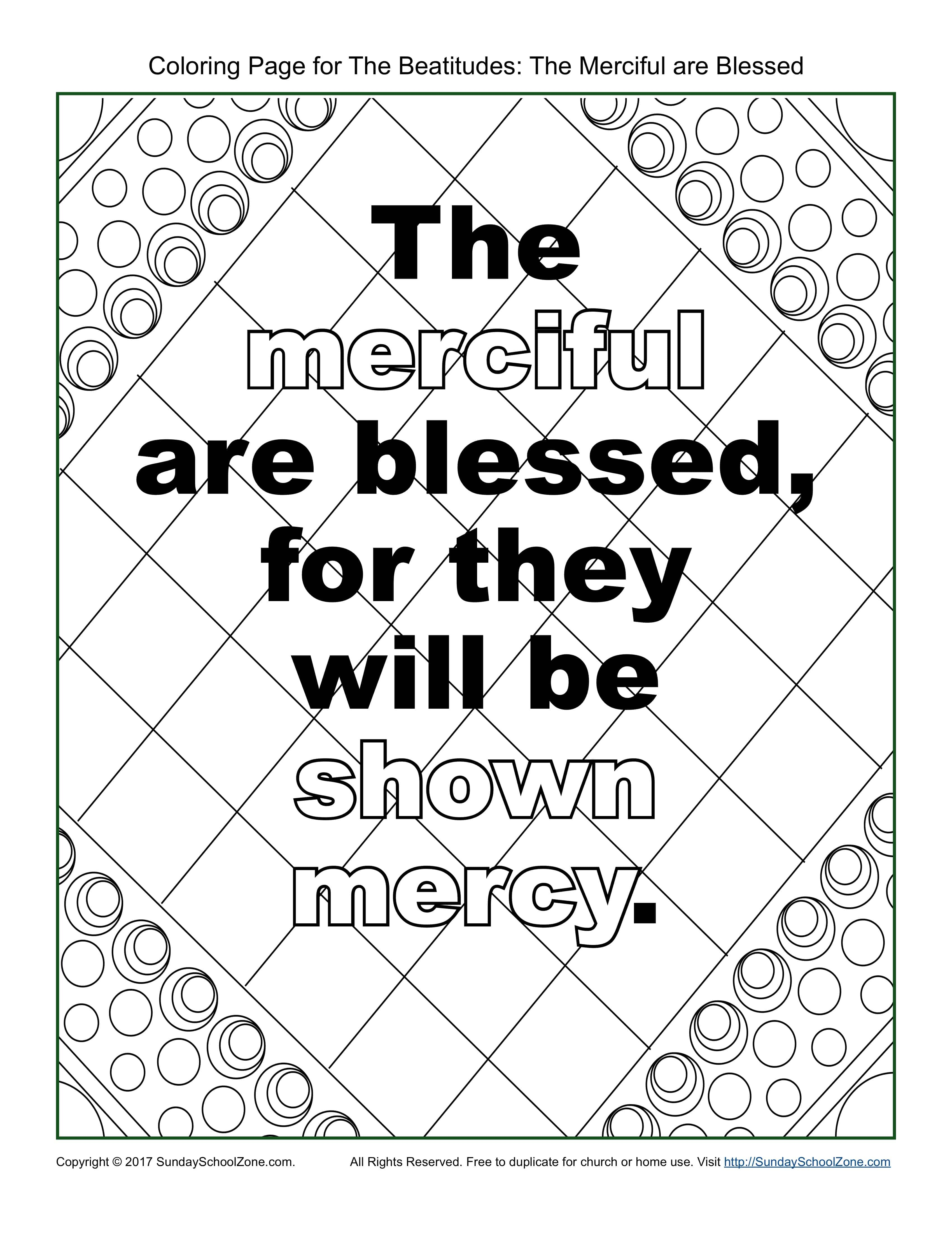 The quot Merciful quot Beatitudes Coloring Page on Sunday School Zone