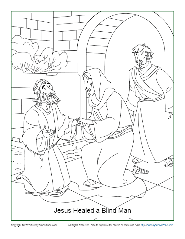 Jesus Healed a Blind Man Coloring Page John 9:1-7
