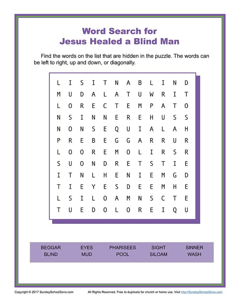 Jesus Healed a Man Born Blind Word