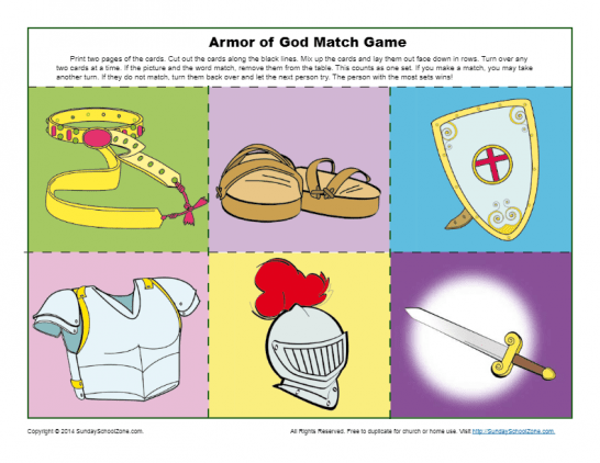 photo regarding Printable Armor of God Worksheets referred to as Armor of God for Small children Things to do upon Sunday Faculty Zone