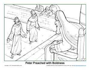 Peter Preached With Boldness Coloring Page On Sunday border=