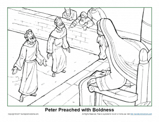 Peter Preached With Boldness Coloring Page On Sunday School Zone