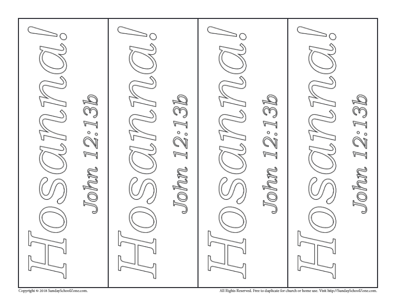 Hosanna Colorable Bookmarks For Palm Sunday On Sunday