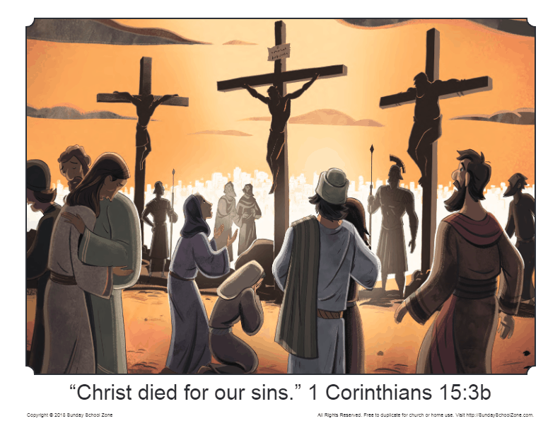 Illustration Of Jesus Crucifixion On Sunday School Zone