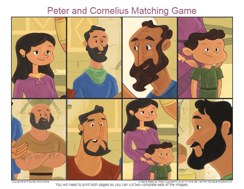 Free Peter And Cornelius Matching Game On Sunday School Zone