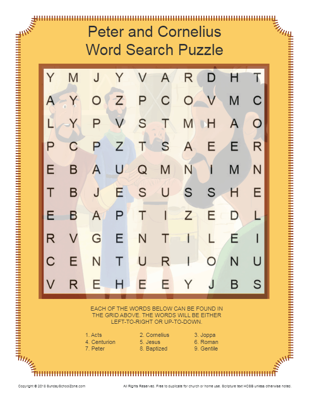 Free Peter And Cornelius Word Search Activity On Sunday