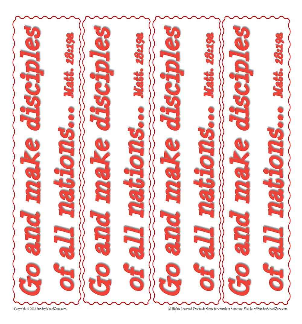 Free, Printable Great Commission Bookmarks on Sunday School Zone