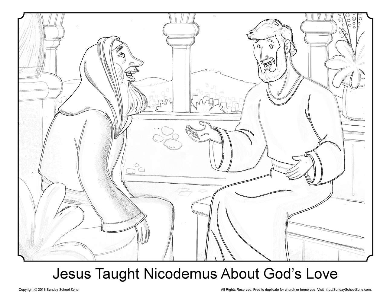 Jesus and Nicodemus Coloring Page on Sunday School Zone
