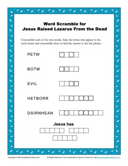 Jesus Raised Lazarus Word Scramble