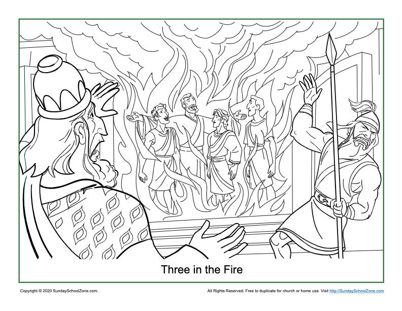 - Three In The Fire Coloring Page On Sunday School Zone