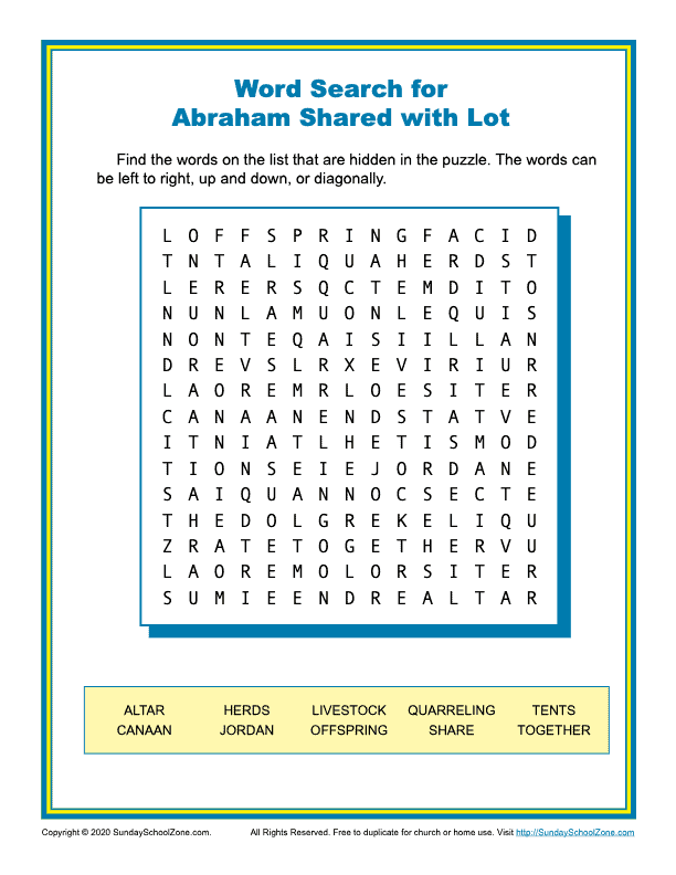 Free, Printable Bible Word Search Activities On Sunday School Zone